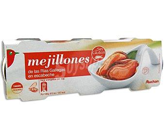Auchan Mejillones en escabeche de las rías gallegas Pack de 3 unidades de 43 gramos