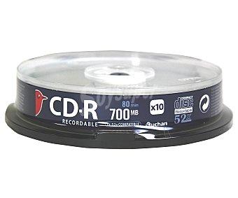 AUCHAN 10CD-R Pack de 10 cd's CDR80 52X auchan Pack de 10