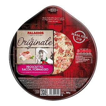 Palacios Pizza fresca de jamón, bacon y queso, masa fina 360 g