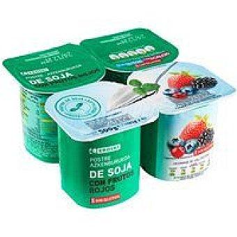 Eroski Postre de soja con frutos rojos Pack 4x125 g
