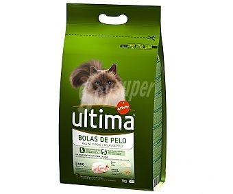 Ultima Affinity Comida completa para gatos control bolas de pelo, rica en pavo y arroz última 3 kilogramos