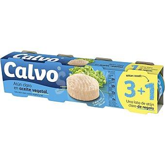 Calvo Atún claro en aceite vegetal pack 3 latas 52 g neto escurrido + 1 lata de regalo Pack 3 latas 52 g