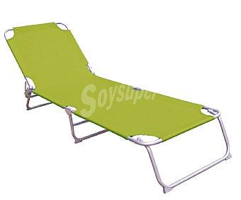 PROFILINE Cama plegable para camping y playa. Fabricada en aluminio, con acolchado en toda su superficie de color verde y blanco 1 unidad
