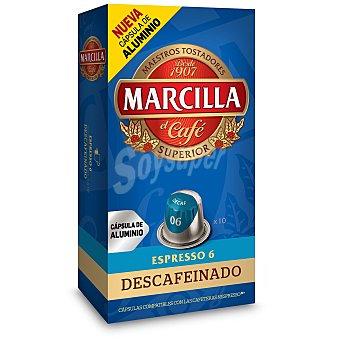 Marcilla Café Descafeinado Monodosis espresso nº 6 10 cápsulas