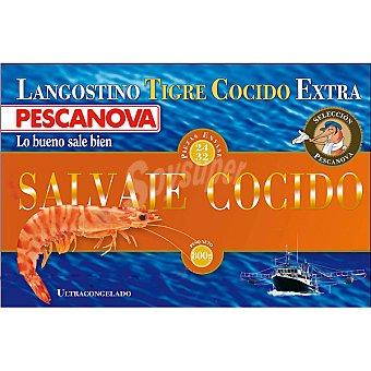 Pescanova Langostino tigre extra cocido 24-32 piezas Estuche 800 g neto escurrido
