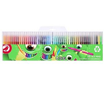Producto Alcampo Rotuladores de colores punta fina de plástico reciclable trazo 0.7 mm, 50 unidades alcampo