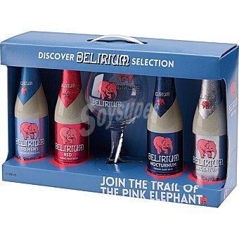 Delirium tremens Cerveza rubia especial belga 4 variedades (tremens, Red, Nocturnum y Argentum) + Copa Estuche 4 botellas 33 cl