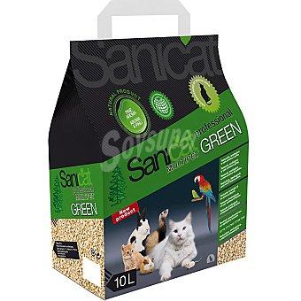 SANICAT PROFESSIONAL GREEN Multipet y ecológico arena para todo tipo de mascotas con aroma a pino Bolsa 10 l