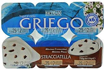 Hacendado Yogur griego stracciatella Pack 6 x 125 g - 750 g