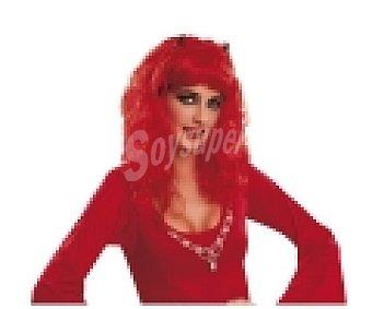 MY OTHER ME Complemento para disfraz Halloween, Peluca Diablesa colorrojo con cuernos 1 unidad