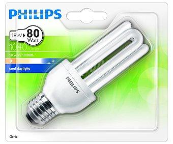 PHILIPS Genie Bombilla de bajo consumo tubo 18 Watios, con casquillo E27 (grueso) y luz fría philips 1 unidad 1u