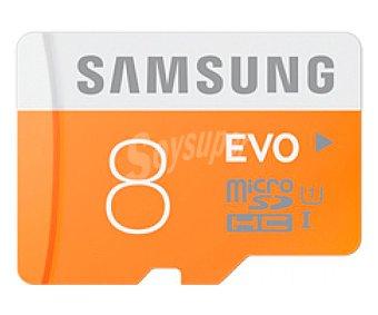Samsung Tarjeta de memoria EVO microsdhc 8GB de alta velocidad 48MB/S, clase 10.