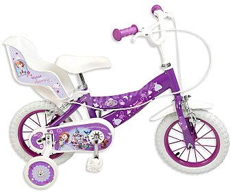 TOIMSA Bicicleta Infantil Princesa Sofía con Portamuñecas Trasero, 1 Velocidad 12 Pulgadas 1 Unidad