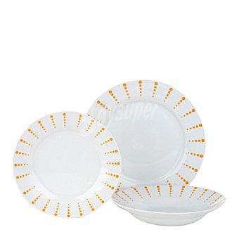 Vajilla 18 piezas porcelana decorada Mod. PUNTITOS NARANJAS 18 piezas
