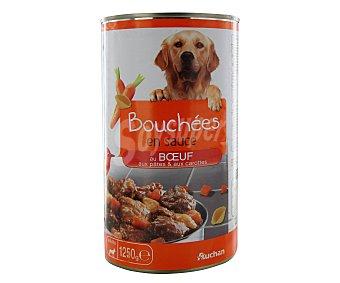 Auchan Bocaditos de carne de buey en salsa con pasta y zanahoria (alimento completo para perros) 1250 gramos