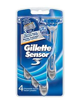 GILLETTE SENSOR 3 Maquinilla de afeitar desechable piel sensible blister 4 unidades