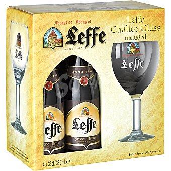 Leffe Cerveza negra Brune belga pack 4 botella 33 cl + regalo copa Pack 4 botella 33 cl