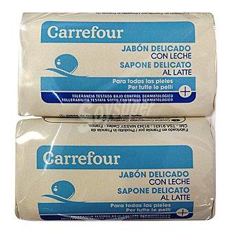 Carrefour Jabón de manos delicado con leche para todo tipo de pieles Pack 4x100 g
