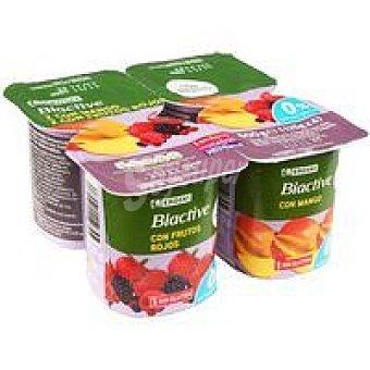 Eroski Biactive 0% con mango-frutos rojos Pack 4x125 g