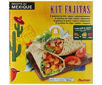 Auchan Kit para hacer fajitas (8 tortillas de trigo, salsa para fajitas a base de tomate con hortalizas y sobre sazonador) 505 g