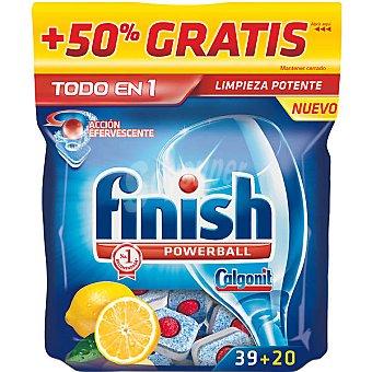 FINISH CALGONIT Detergente lavavajillas todo en 1 limón acción efervescente + 20 gratis Bolsa 39 pastillas