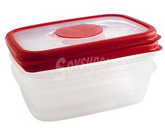 QUID Recipiente hermético rectángular de plástico con tapa modelo Frigo box, 0,35 litros, 14x9,5x5,3 centímetros 0,35 L