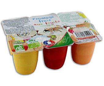 Rik&Rok Auchan Petit con frutas ecológico (queso fresco azucarado con frutas, procedente de la agricultura ecológica) 6 unidades de 50 gramos