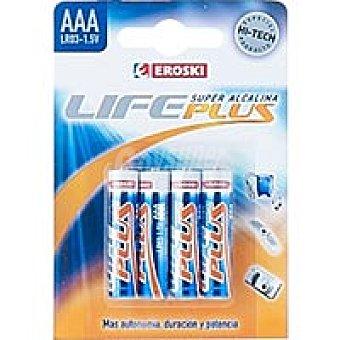 EROSKI Life Plus Pila alcalina 4 unidades