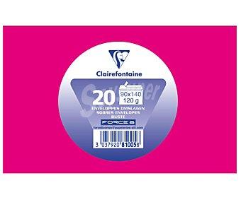 Clairefontaine Sobres de tamaño 90 x 140 milímetros, peso de 120 gramos y de color fucsia 20 unidades