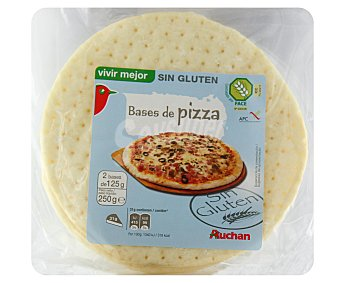 Auchan Bases de pizza sin gluten 250 gramos