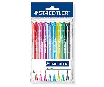 Staedtler Lote de 8 bolígrafos retráctiles del tipo roller, punta media y tinta de diferentes colores 1 unidad