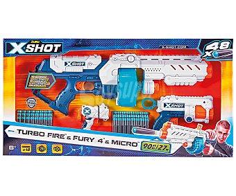 Xshot Pack turbo 3 lanzadores y 48 dardos inclluidos Combo xshot.