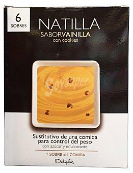 Deliplus Natilla polvo sabor vainilla con cookies (sustitutivo de una comida para control de peso) Caja 6 sobres
