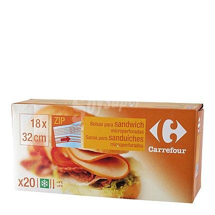 Carrefour Bolsas para bocadillos y sandwich de 18 x 32 cm. 20 unidades