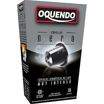 OQUENDO Nero Café tueste natural muy intenso 10 cápsulas compatibles con máquinas Nespresso estuche 45 g 10 c