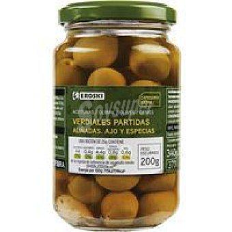 Eroski Aceitunas verdial ajo-especias Frasco 200 g