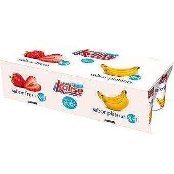 Kalise yogur sabores 4 sabor fresa + 4 sabor plátano pack 8 envase 125 g