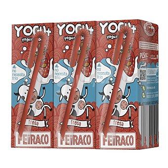Feiraco Yogur líquido sabor fresa Pack 3 bricks de 200 ml