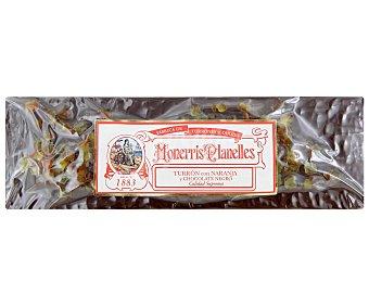 Monerris Planelles Turrón de naranja bañado con chocolate negro 400 gramos