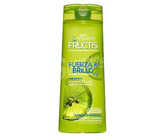 Fructis Garnier Champú fortificante Fuerza & Brillo 2 en 1 con vitaminas B3 y B6 + esencia de pomelo para cabello normal Frasco 360 ml
