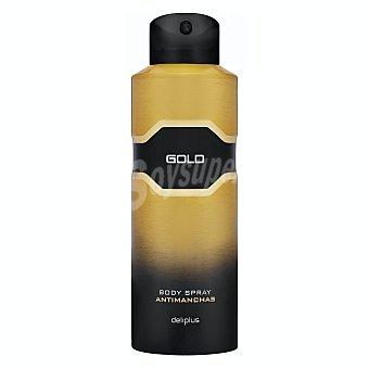 Deliplus Desodorante body spray hombre perfume gold antimanchas (dorado) Bote 200 ml