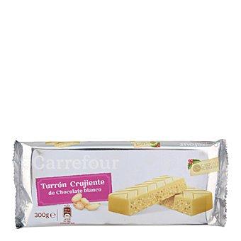 Carrefour Turrón de chocolate blanco crujiente con arroz, leche, almendras y avellanas 300 g