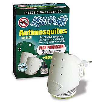 Kill-Paff Insecticida eléctrico antimosquitos, 2 difusores + 1 recambio 2 difusores + 1 recambio