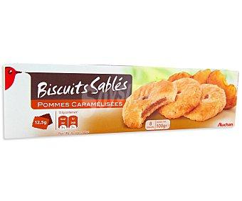 AUCHAN Galletas de mantequilla con relleno de manzana 100 gramos