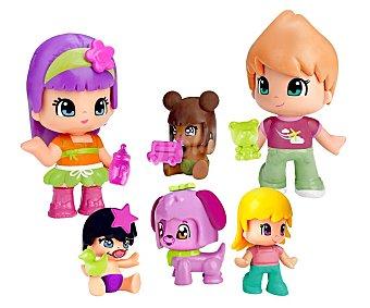 PINYPON Familia Pack familia Pinypon, incluye 5 figuras y mascota pinypon