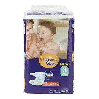 Carrefour Baby Pañal con elástico T3 de 4-9 kg 56 ud