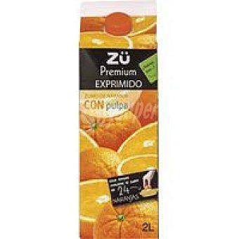 Zü Premium Zumo de naranja exprimido con pulpa Brik 2 litros