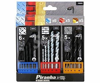PIRANHA 3 Cassetes de 16 Brocas de Diferentes Tamaños y Usos 1 Unidad