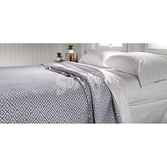 CASACTUAL Akhame Colcha jacquard de rombos en color azul para cama 105 cm