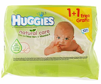 HUGGIES NATURAL CARE Toallitas 1+1 Pack de 2x64 ud